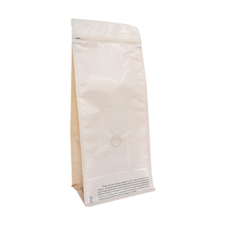 Food Grade Plastic Flat Bottom Zipper Blue Coffee Bag with Valve