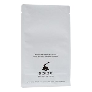 Aluminum Free Coffee Tea Compostable Pouch Flat Bottom Resealable Bag Custom White Printed Package