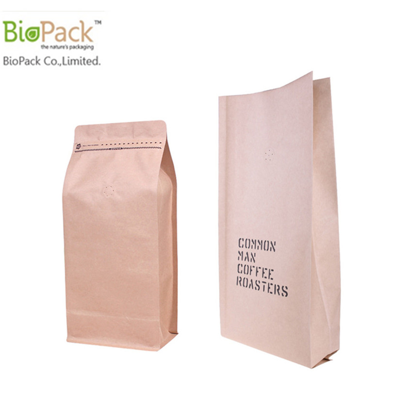 Biodegradable Coffee and Cashew Nuts Zip Lock Stand Up Food Packaging Kraft Paper Bag From China