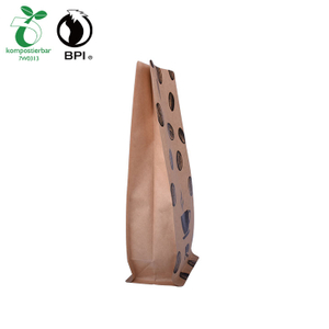 Recycled Biodegradable Corn Starch Zipper Kraft Packaging Bag