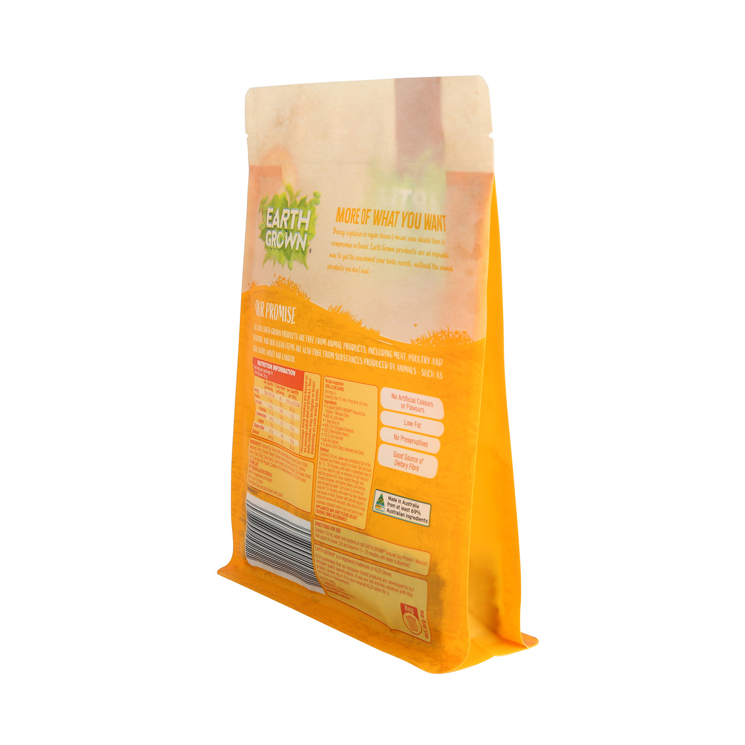 Good Quality Customized Printing Recyclable Flat Bottom Yellow Pouch for Food Packaging with Zipper & Window