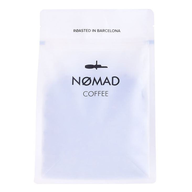 Eco Friendly Square Bottom Reusable Coffee Bag Printed Plastic Recyclable Gusset White Pouch