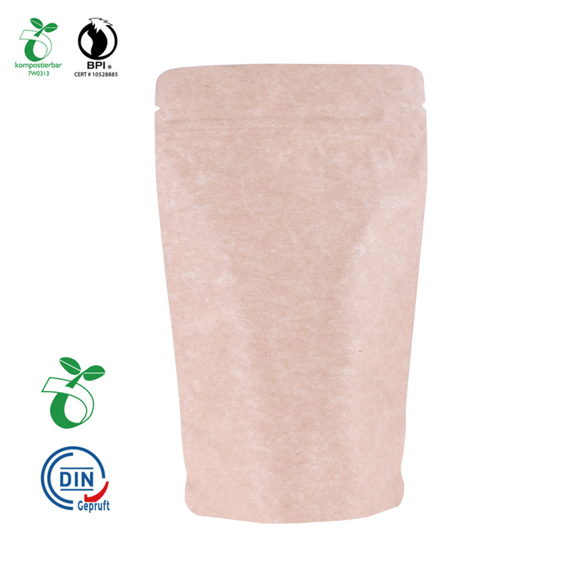 Industrial Degradability Cornstarch Stand Up Kraft Paper Pouch with Window and Zipper