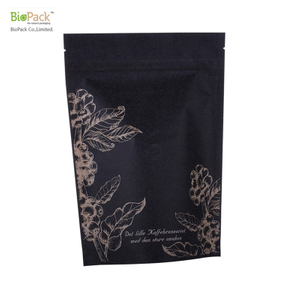 Custom Printed 100%Compostable Kraft paper PLA Material Coffee Bags