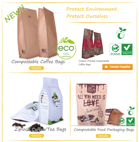 Custom Zipper Stand Up Plastic Biodegradable Food Packaging Pouch Bag With Window