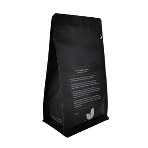 Wholesale Recyclable Plastic Packaging Black Box Flat Bottom Food Bag