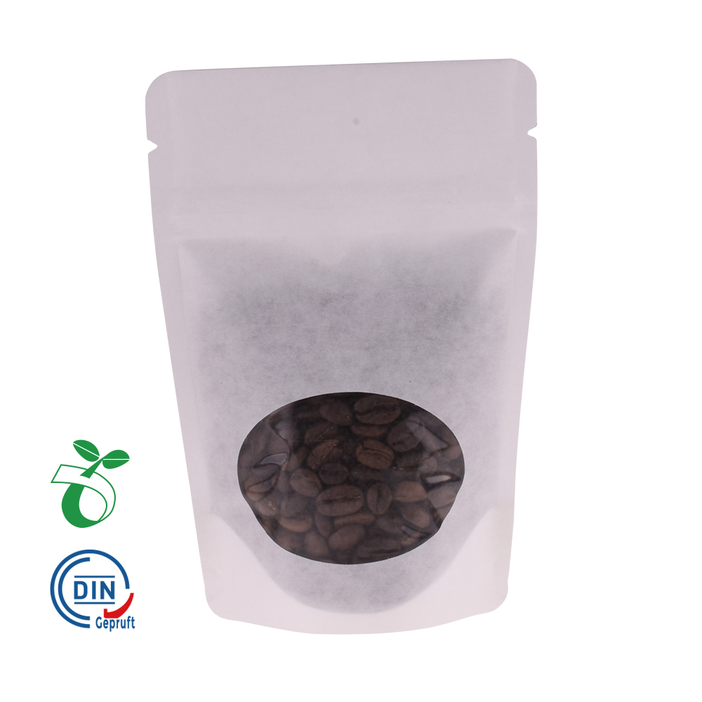 ECO Plastic Kraft Paper Compostable Coffee Stand Up Bag With Biodegradable Zipper Wholesale From China