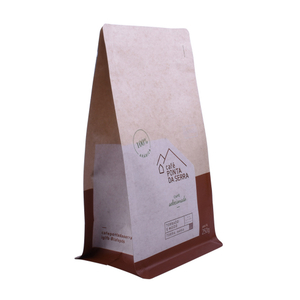 Brown kraft paper bag with mylar foil bottom gusseted bag for tea snack