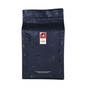 Eco Friendly Compostable Printing Flat Bottom Coffee Beans Bag With Zipper