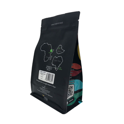 Customized Compostable 250g 12oz Matt Black Box Bottom Coffee Bag Biodegradable Pouch With Valve