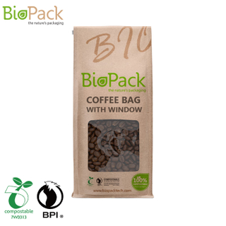 Custom Square Bottom Biodegradable Material Compostable Tea Bag with Clear Window USA