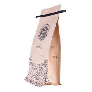 Bio Based Coffee Compostable Kraft Paper Flat Bottom Biodegradable Coffee Bag with Valve