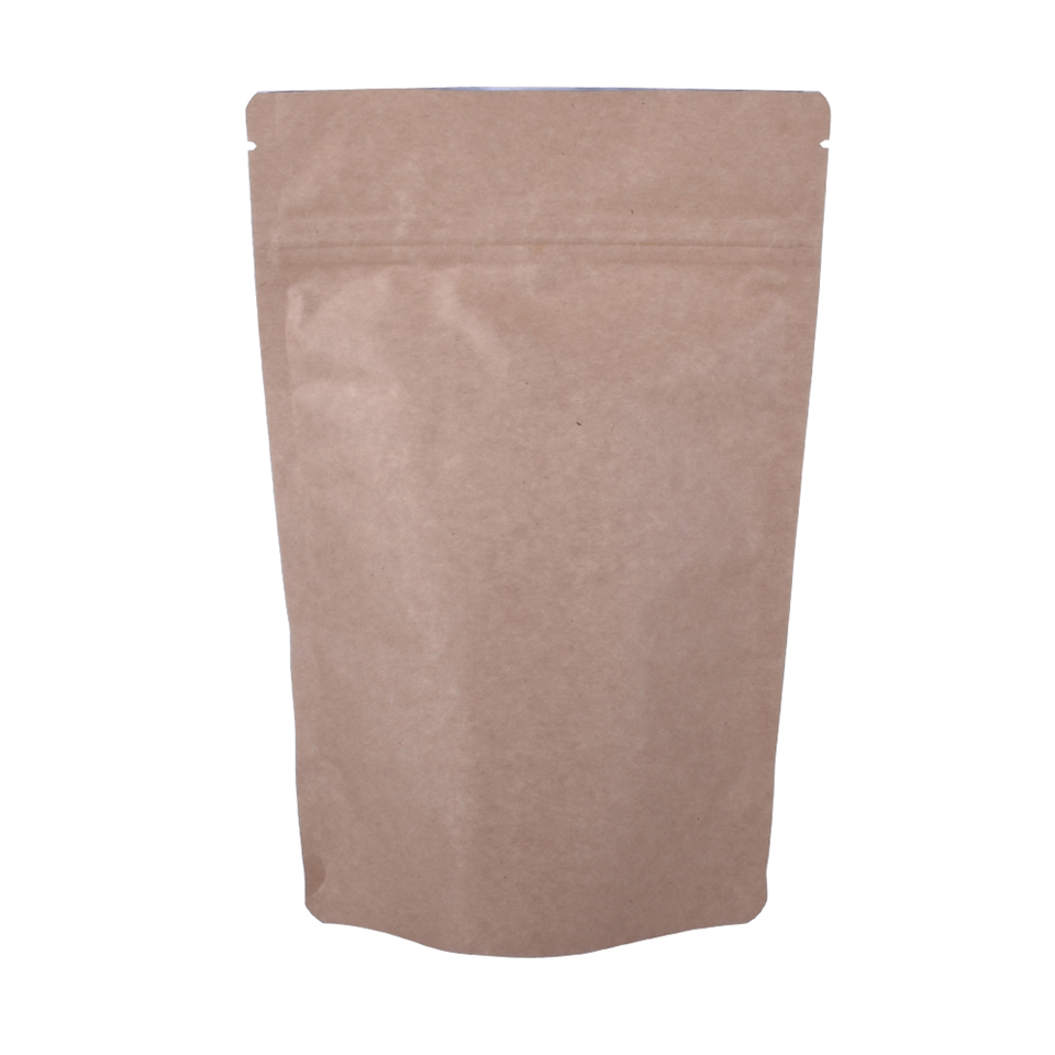 Doypack Ziplock Brown White Kraft Craft Paper Stand Up Pouch for Nut