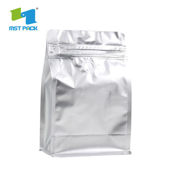 Heat Seal Foil Lined Custom Printed Biodegradable Mylar Foil Coffee Packaging Flat Block Bottom Pouches with Valve