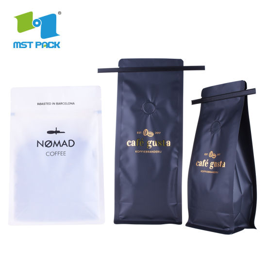 Coffee Used 250g 500g 1kg Flat Bottom Pouch Biodegradable Compostable Coffee Bags Pouch with One Way Valve