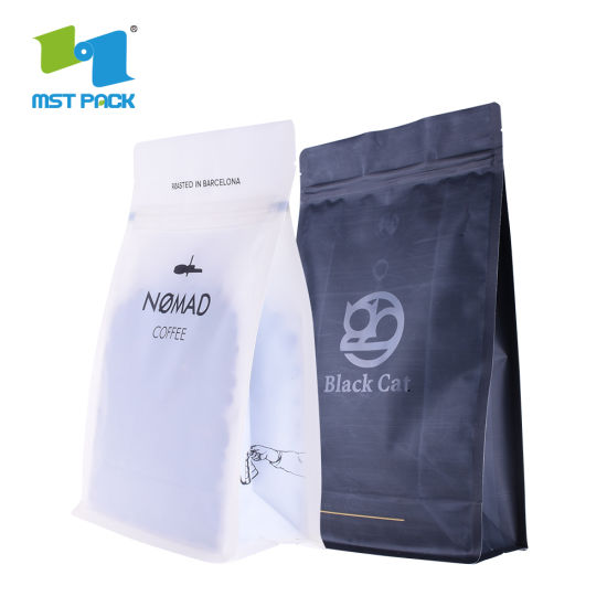 Wholesale Eco Custom Printed Flat Bottom Biodegradable Resealable Ziplock Top Coffee Bags with Valve Wholesale Packaging Bag