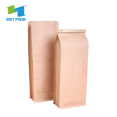 Eco Biodegradable Resealable Food Grade Moisture Proof Zipper Top One-Way Degassing Valve Coffee Packaging Paper Bags