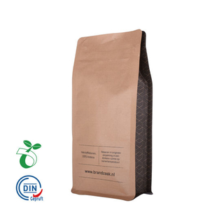 Custom Printed Eco Friendly Biodegradable Compostable Tea Coffee Brown Kraft Paper Pouch Bag