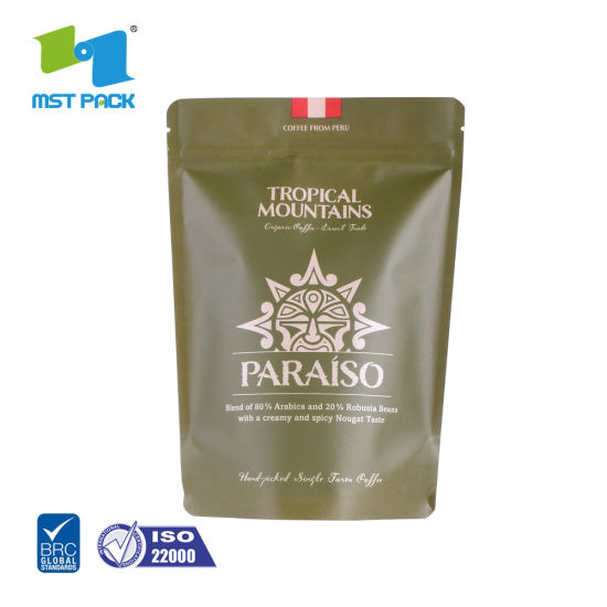 100% Biodegradable Food Standard Custom Printed/compostable Stand-up Packaging Green Coffee Tea Bags