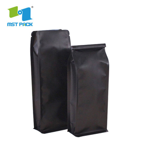 Custo Compostable One-Way Valve Mylar Coffee Pouch Flat Bottom Side Gusset Biodegradable Coffee Packaging Bag with Al Foil Ziplock
