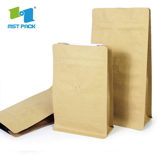 Eco Friendly Compostable Packaging Kraft Paper PLA Biodegradable Coffee Bag with Valve
