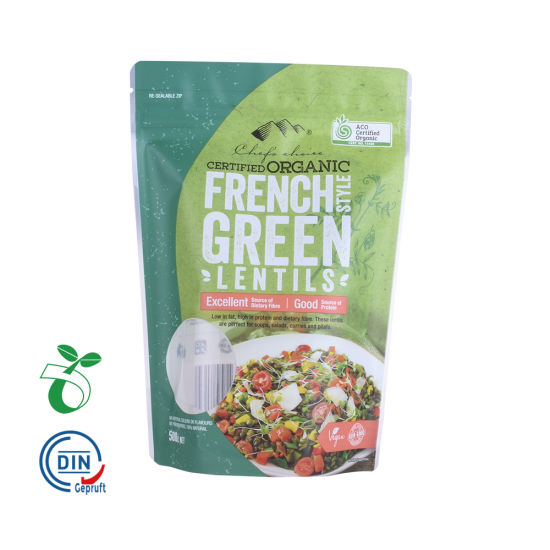 Eco-Friendly Zipper Stand up PLA Food Packaging Pouch 100% Biodegradable Plastic Bag