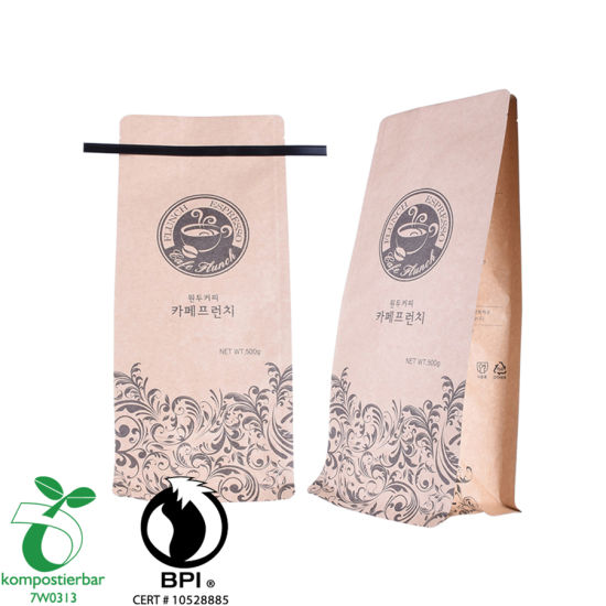 Custom Printed Block Bottom Tin Tie Coffee Bag Supplier in China