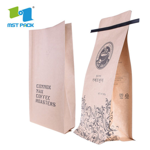 Eco Craft Paper Block Bottom Bags Compostable PLA Corn Made Biodegradable Pouch Coffee Bags with Tin Tiewholesale