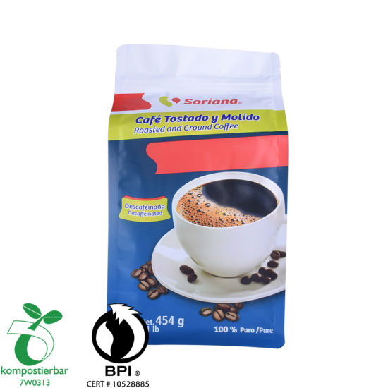 Custom Printed Block Bottom Compostable Zip Lock Bag Factory China