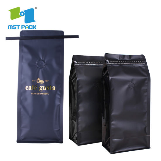 Eco Friendly Custom Logo Print Plastic Aluminum Foiled Flat Bottom Biodegradable Coffee Bag with One Way Valve