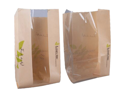 Wholsale Eco Kraft Paper Packaging Biodegradable Bread Bag with Clear Window for Food