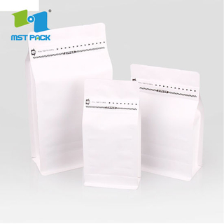 8oz Grounded Coffee Beans Flat Bottom Pouch Biodegradable Bag with One Way Valve Matte Black White Bag